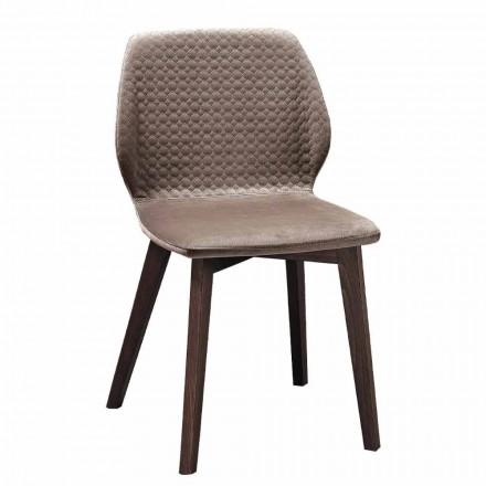 Moderní elegantní designová židle z prošívaného sametu a dřeva 4 kusy - Scarat