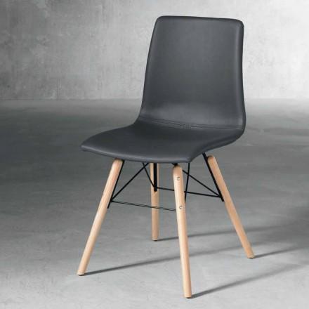 Moderní židle v dřevěné a černé eko-kožené vyrobené v Itálii Ranica
