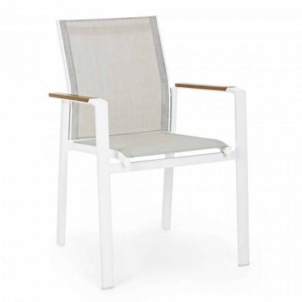 Stohovatelná venkovní židle s područkami v hliníkové homemotion - Sciullo