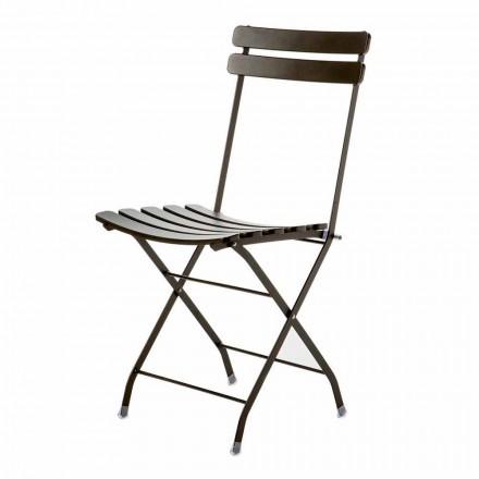 Venkovní skládací židle z lakovaného kovu vyrobená v Itálii, 4 kusy - Lori
