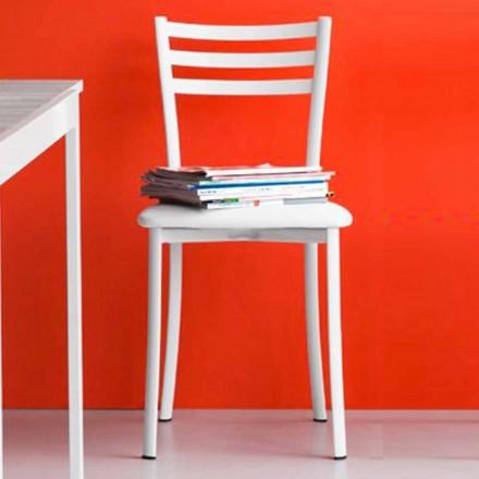 Polstrovaná jídelní židle z kovu a umělé kůže Vyrobeno v Itálii, 2 kusy - Ace