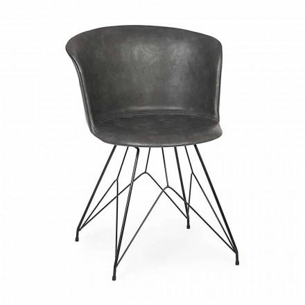 Jídelní židle z koženky a oceli 2 kusy Homemotion - Katya