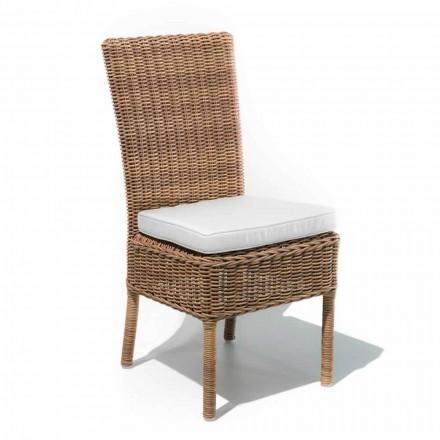 Venkovní jídelní židle z tkaného syntetického ratanu a látky, 2 kusy - Yves