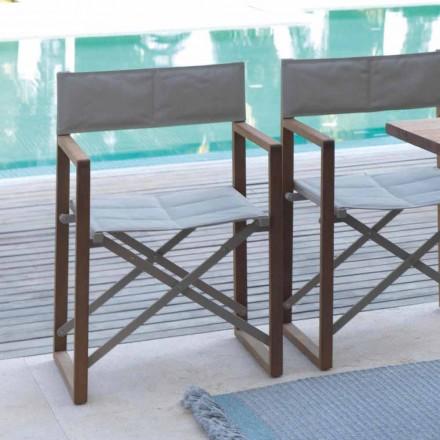 Skládací židle pro venkovní použití v mahagonu a textilním mostě