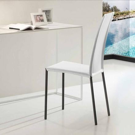 Kožená čalouněná židle s kovovou strukturou vyrobená v Itálii, 2 kusy - zinek