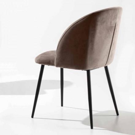 Židle čalouněná v sametu se základnou z černě lakovaného kovu, 2 kusy - Havana