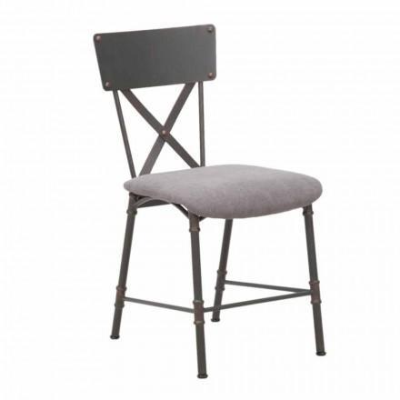 Průmyslová designová jídelní židle z MDF a kovu - Elodie