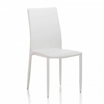 Jídelní židle v kožence s kovovou strukturou, 4 kusy - Giola