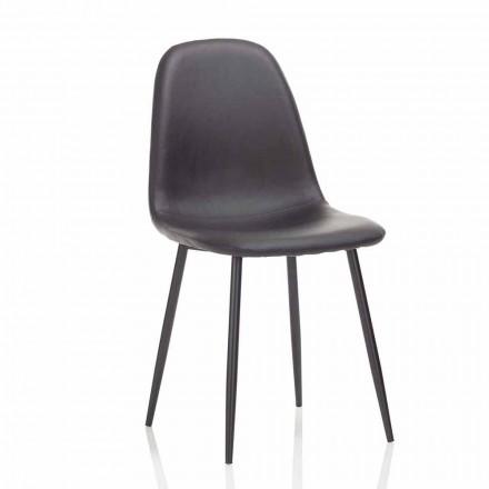 Moderní jídelní židle z koženky a černého kovu, 4 kusy - Pocolo