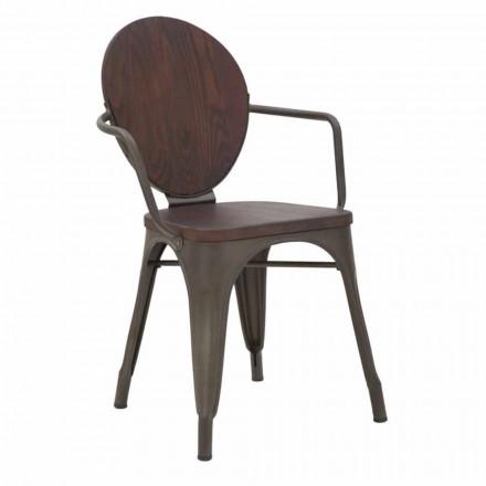 Dřevěná sedačka a železná základna v průmyslovém designu, 2 kusy - Delia