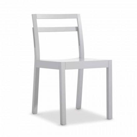 Židle do obývacího pokoje v bílém dřevě moderního italského designu 2 kusy - pingpong