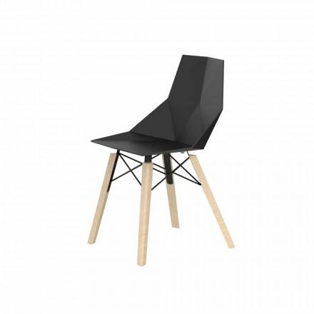 Obývací pokoj nebo kuchyňská židle z polypropylenu a dřeva - dřevo Faz od společnosti Vondom
