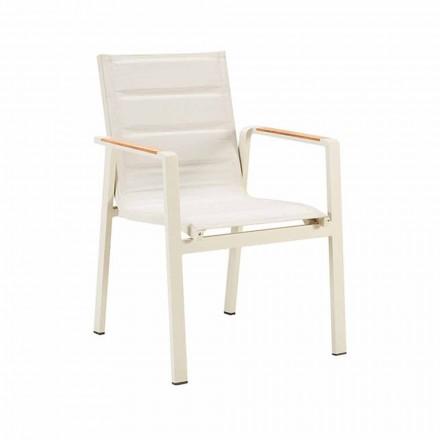 Stohovatelná venkovní jídelní židle z hliníku a čtyřdílných područek - Bilel