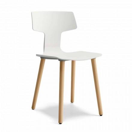 Jídelna židle ze dřeva a polypropylenu Vyrobeno v Itálii, 2 kusy - jetel