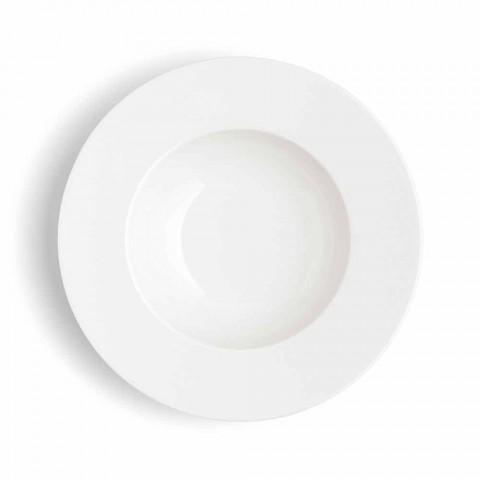 Služba 24 moderních bílých talířů a 12 porcelánových šálků - Monako