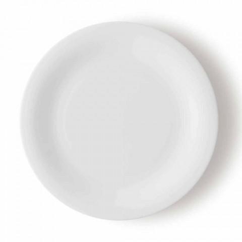 24 Elegantní talíře na večeři v bílém porcelánovém designu - Doriana