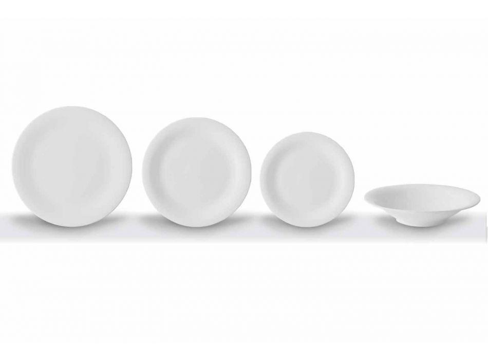 24 elegantních talířů v bílém porcelánovém designu - Doriana