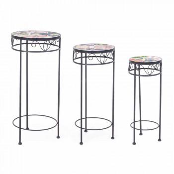 Služba 3 kulaté zahradní stoly v oceli a dekorech - okouzlující