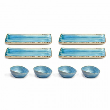 Service 8 Colored Rectangular Platees and Bowl Modern Design in Stoneware - Simba