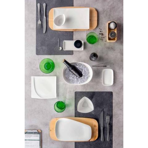 Aperitif Service 12 kusů moderních bílých porcelánových desek - Nalah