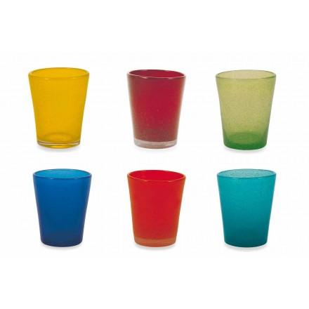 Water Glass Service 12 kusů foukaného a barevného skla - Yucatan Folk