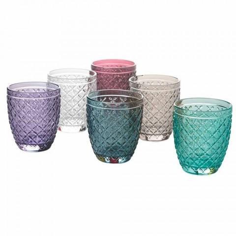 Barevná a zdobená vodní sklenice Service 12 kusů skla - Lozenge