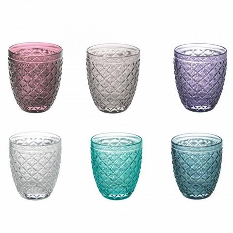 Barevná a zdobená sklenice na vodu 12 kusů skla - Lozenge