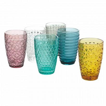 Moderní sada na pití v zdobeném barevném skle 12 kusů - mix