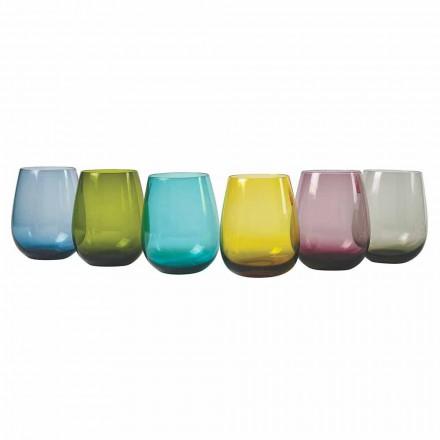 Designové barevné skleněné vodní brýle, 12 kusů - Aperi