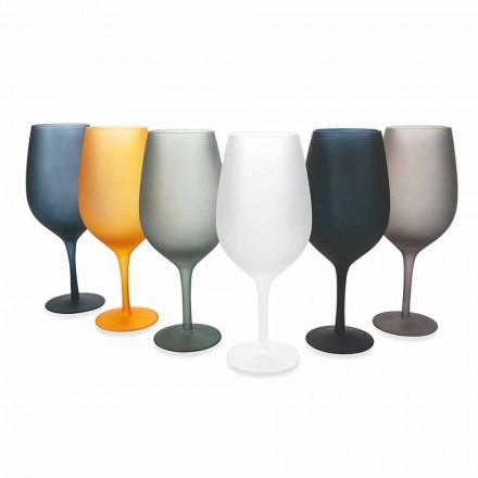 Pohárek na červené nebo bílé víno v barevném skle, 12 kusů - okraj
