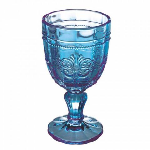 Barevný pohár na víno ve skle a dekoraci v orientálním stylu 12 kusů - šroub