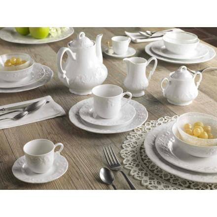 Kompletní snídaňová služba 22 kusů v bílém porcelánu - Gimignano