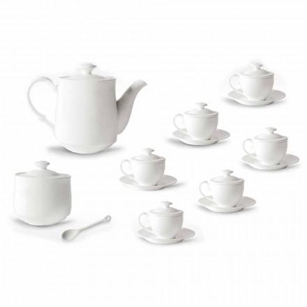 Kompletní servis šálků kávy 21 kusů v bílém porcelánu - Samantha