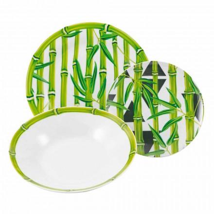 Kompletní servis Porcelánová jídla Moderní Barevný Bambus 18 Kusů - Pruty