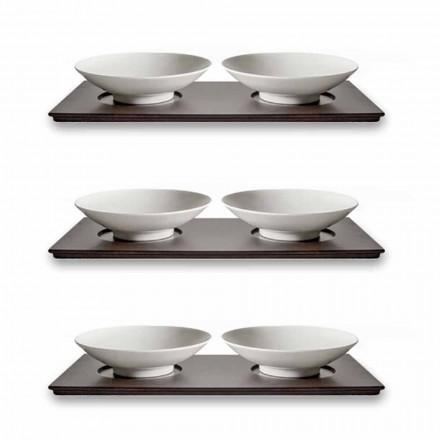 Servis malých šálků s dřevěným podnosem Moderní elegantní design 9 kusů - Flavia