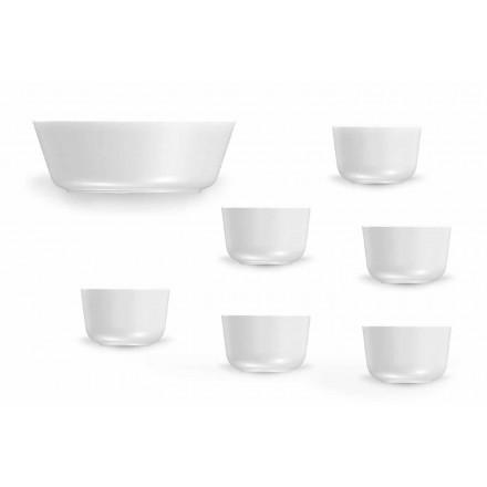 Sada moderních bílých porcelánových šálků a mísy 7 kusů - arktická