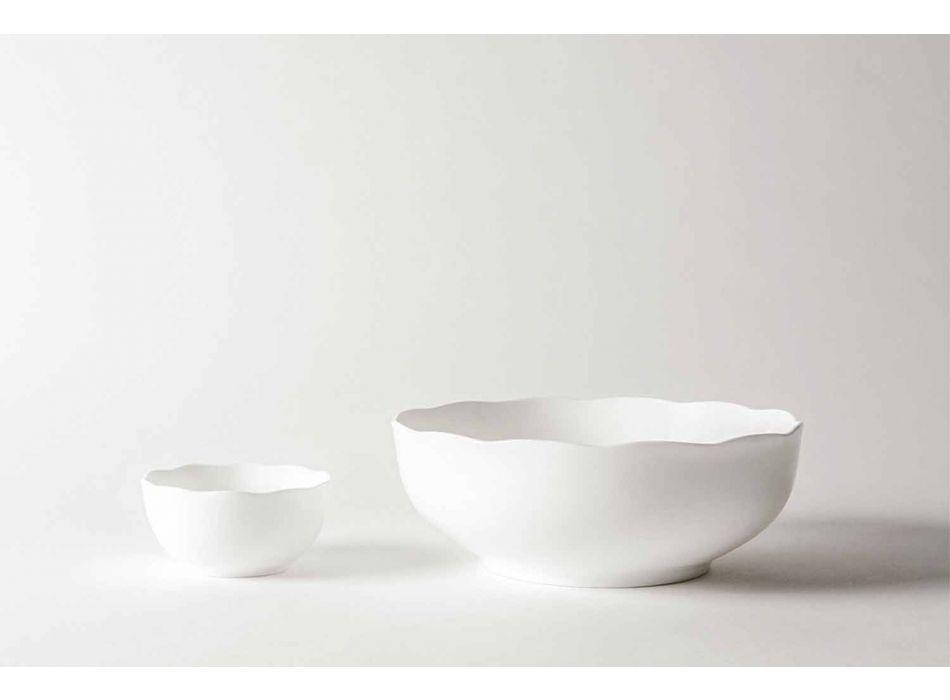 Bílé porcelánové servírovací kelímky a misky 8 kusů - Armanda