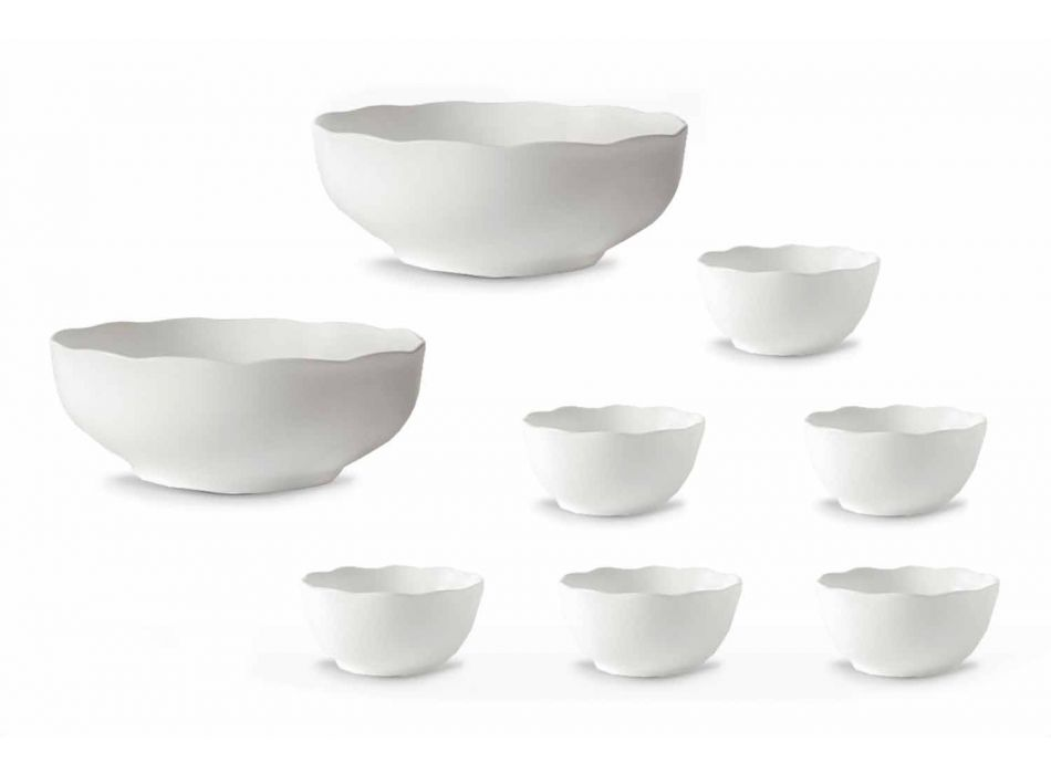 Servírovací šálky a mísy z bílého porcelánu, 8 dílků - Armanda