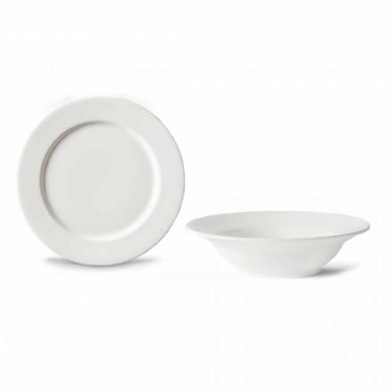 Dezertní služba 6 misek a 6 designových talířů v bílém porcelánu - Samantha