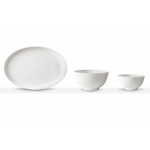 Servírovací sada z bílého porcelánu, oválný talíř a mísa, 10 kusů - Romilda