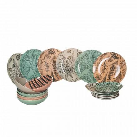 Kompletní jídelní servis v barevném porcelánu 18 kusů - balet