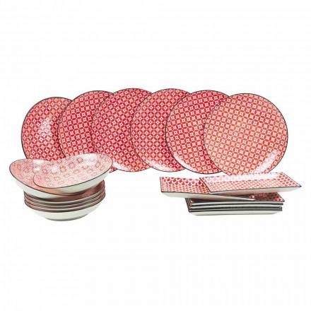 Kompletní stolní servis Červené talíře v moderním kamenina 18 kusů - Cochineal