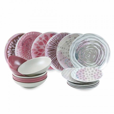 Barevný porcelánový a kameninový stolní servis 18 kusů - Cyclamen