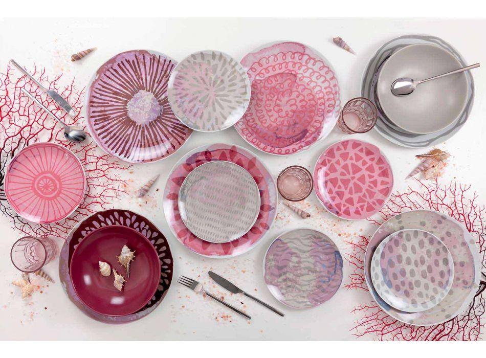 Barevný porcelánový a kameninový stolní servis 18 kusů - brambořík