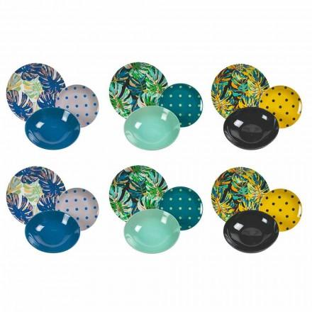 Porcelánové a kameninové stolní servisní barevné talíře 18 kusů - Riodeja