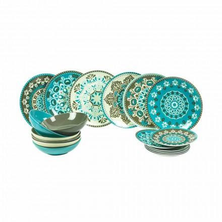 Modré porcelánové nádobí sada 18 kusů - Eivissa