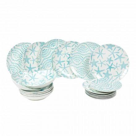 Stolní servisní talíře z bílého a světle modrého porcelánu 18 kusů - Cozumel