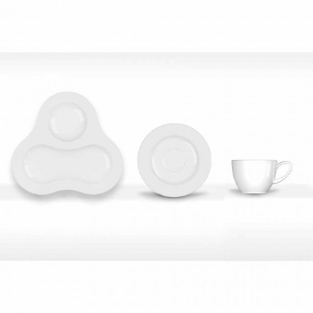 Kompletní čajová souprava moderního designu v bílém porcelánu 14 kusů - dalekohled