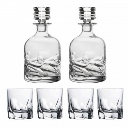 Sada 2 lahví a 4 sklenic na whisky ze zdobeného křišťálu - titanu