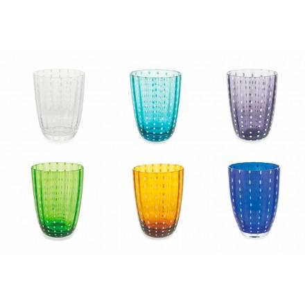 Sada 6 moderních barevných skleněných designových brýlí pro vodu - Botswana